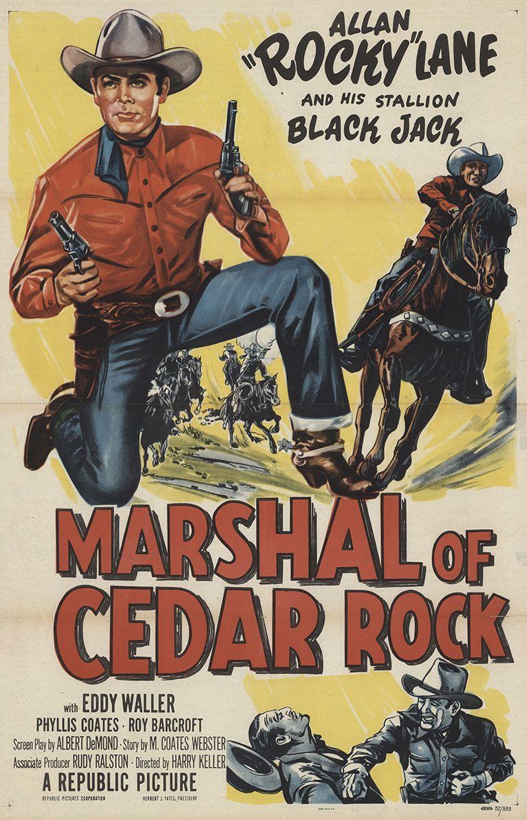 Roy Barcroft, Allan Lane, and Black Jack in Marshal of Cedar Rock (1953)