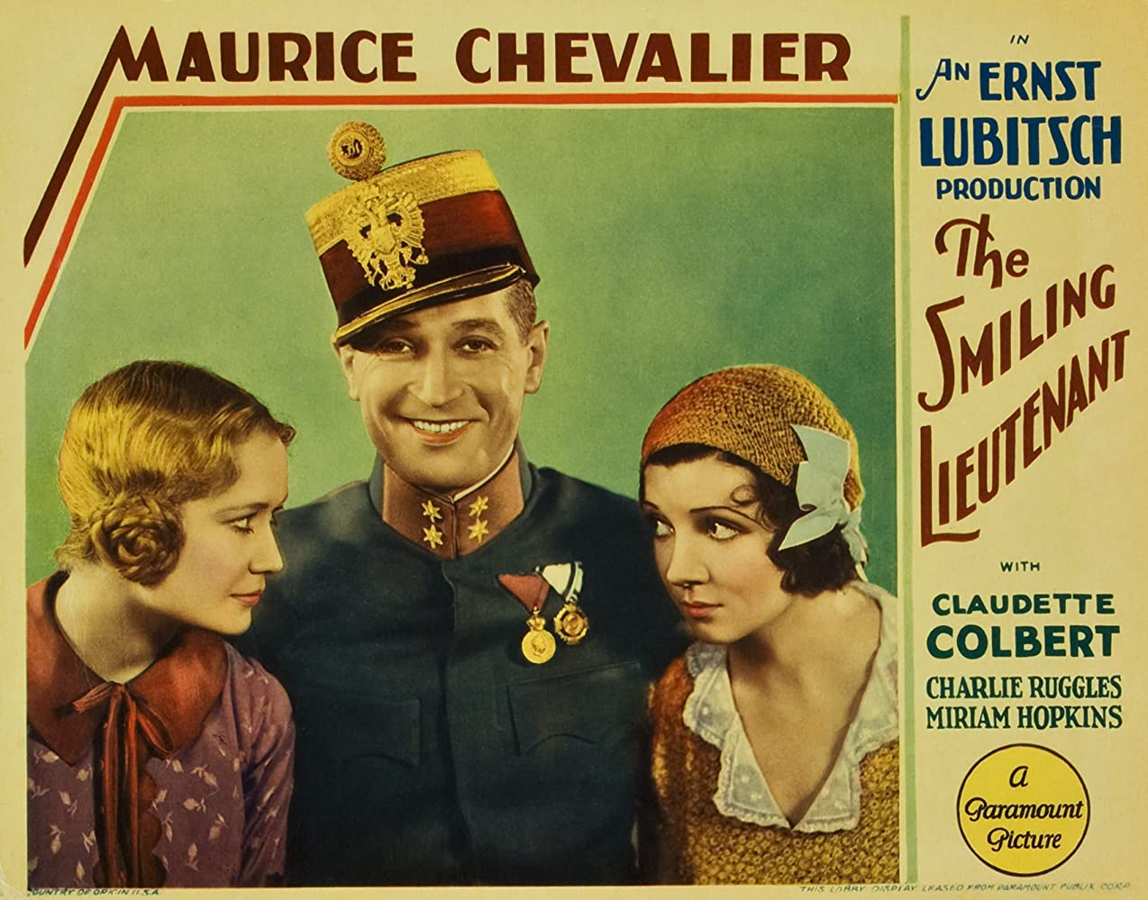 Claudette Colbert, Maurice Chevalier, and Miriam Hopkins in The Smiling Lieutenant (1931)
