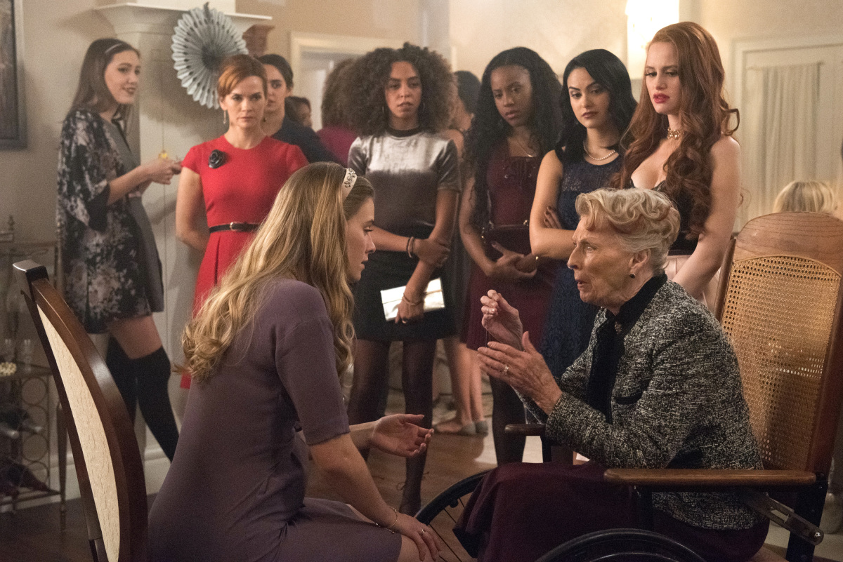 Nathalie Boltt, Tiera Skovbye, Barbara Wallace, Asha Bromfield, Camila Mendes, Madelaine Petsch, and Hayley Law in Riverdale (2016)