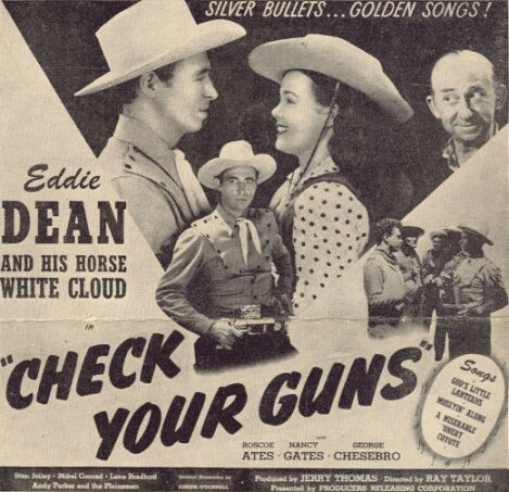 Roscoe Ates, Eddie Dean, and Nancy Gates in Check Your Guns (1948)