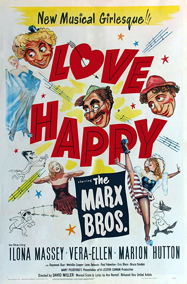Groucho Marx, Chico Marx, Harpo Marx, Ilona Massey, and Vera-Ellen in Love Happy (1949)