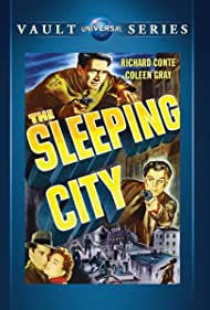 Richard Conte and Coleen Gray in The Sleeping City (1950)