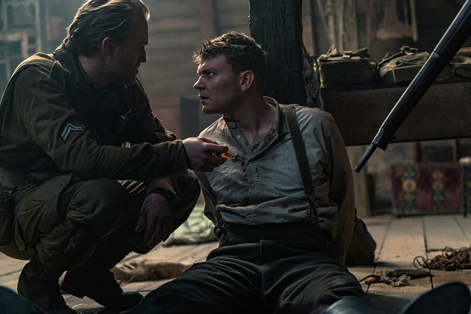 Wyatt Russell and Pilou Asbæk in Overlord (2018)