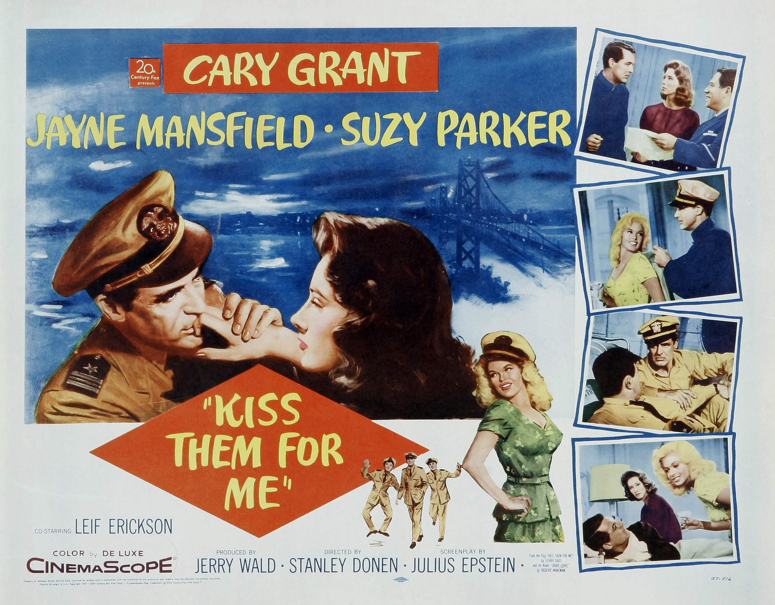 Cary Grant, Jayne Mansfield, and Suzy Parker in Kiss Them for Me (1957)
