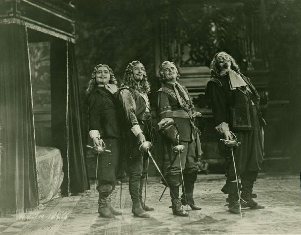 Douglas Fairbanks, Léon Bary, Gino Corrado, and Tiny Sandford in The Iron Mask (1929)