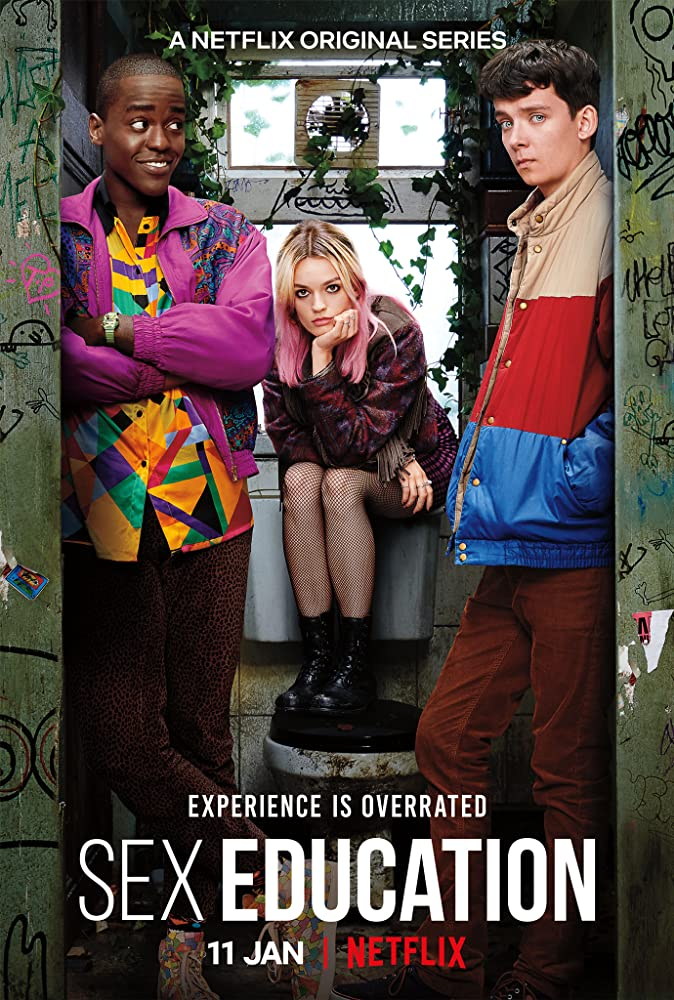 Asa Butterfield, Ncuti Gatwa, and Emma Mackey in Sex Education (2019)