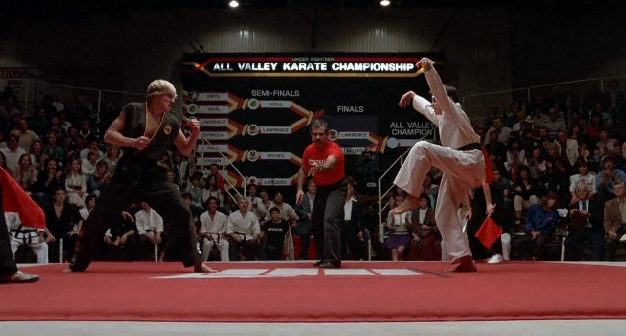 Elisabeth Shue, Ralph Macchio, Pat Morita, Randee Heller, Pat E. Johnson, Bruce Malmuth, and William Zabka in The Karate Kid (1984)