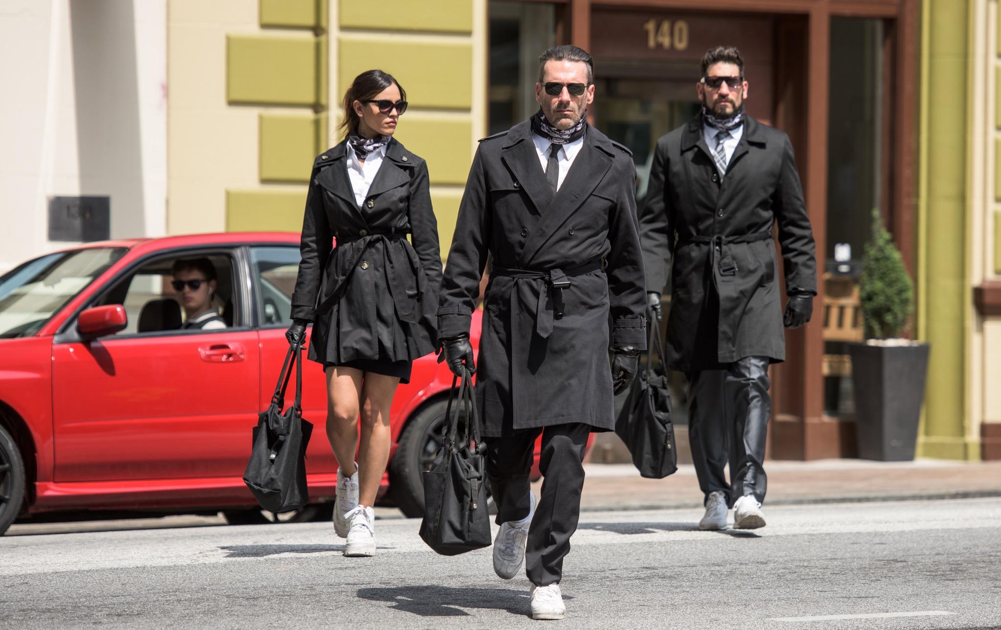 Jon Hamm, Jon Bernthal, Eiza González, and Ansel Elgort in Baby Driver (2017)