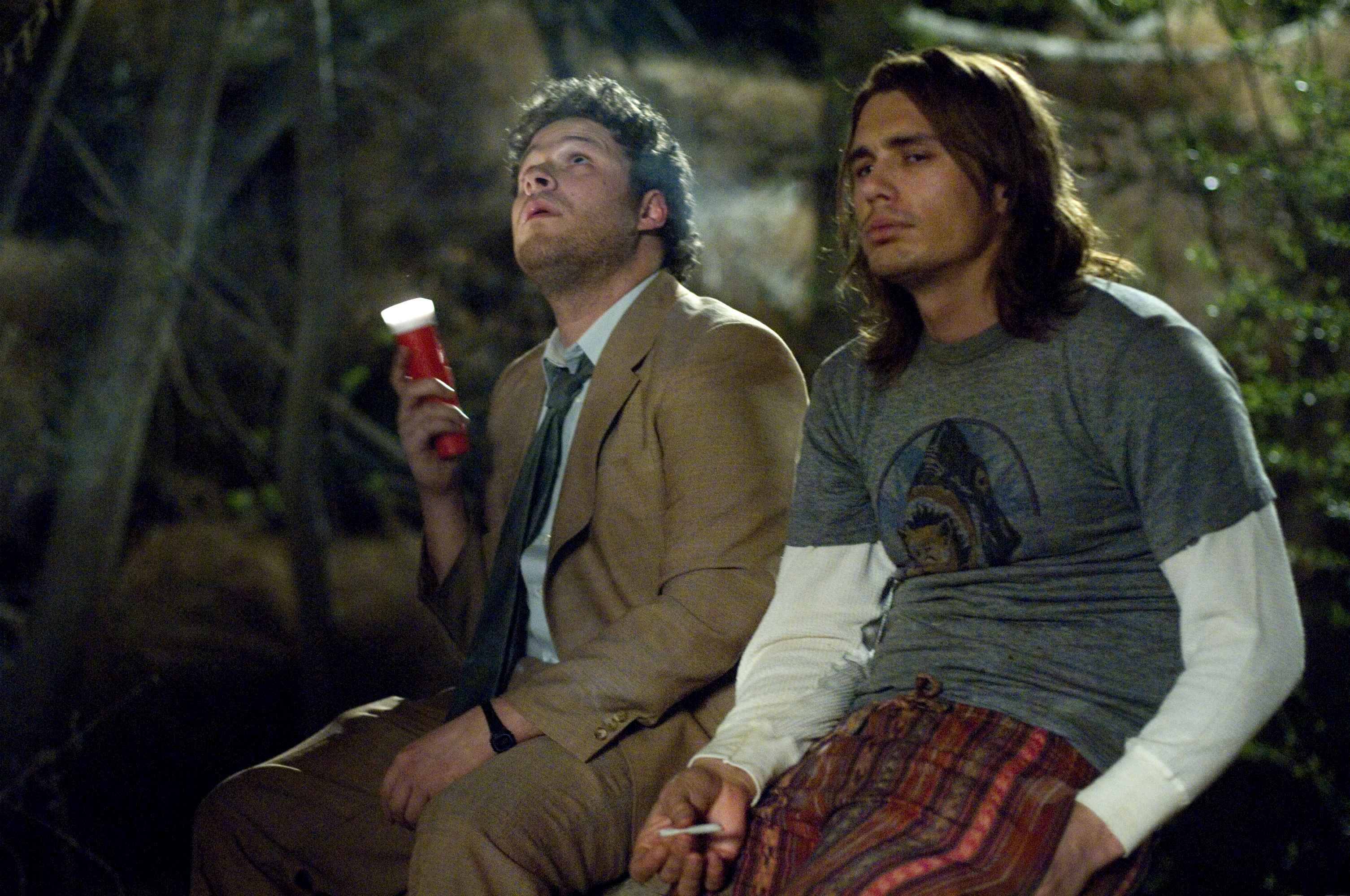 5. Pineapple Express: The heroes survived the final battle and formed a stronger friendship in the original ending. They survived the final battle in the alternate ending. But, they were violently gunned down after debating whether or not they would be able to kill all of the criminals. In a darker but more realistic ending, the two friends die together, holding hands.
