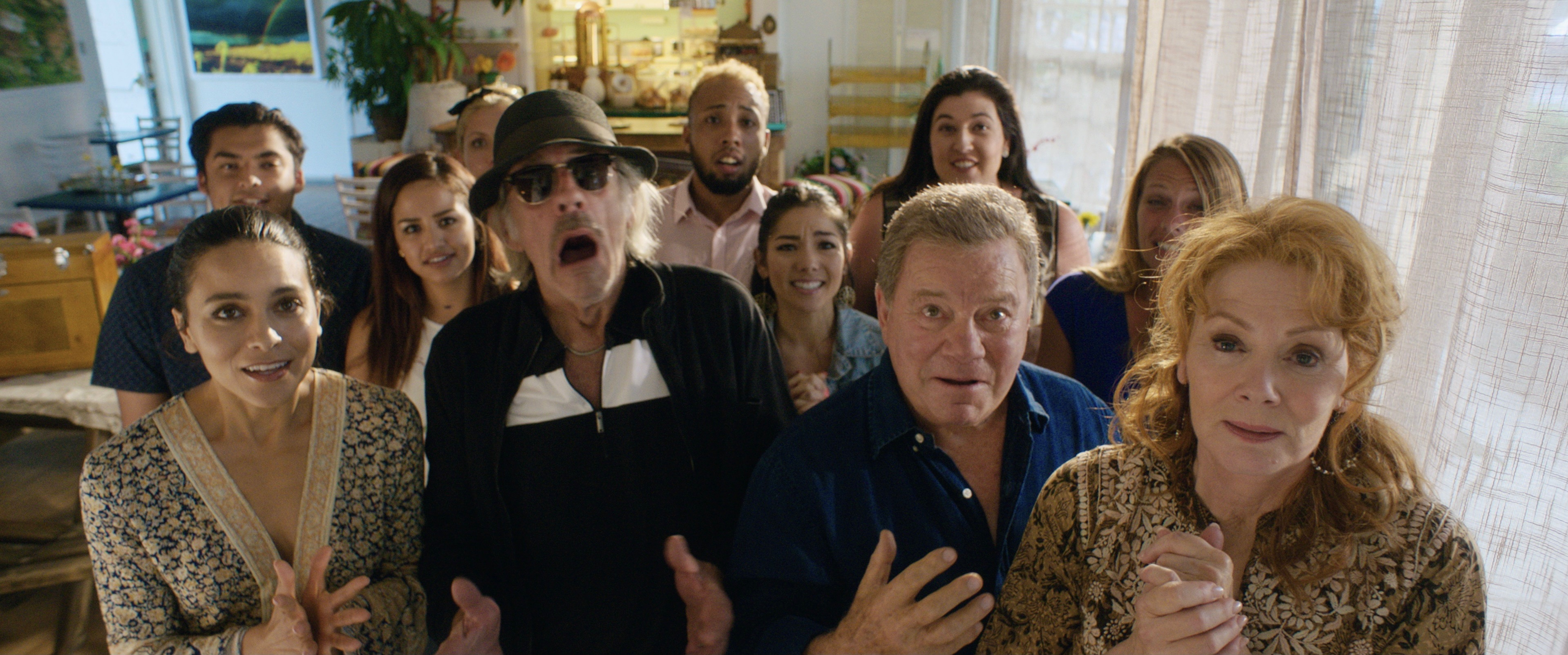 Christopher Lloyd, William Shatner, Jean Smart, and Maya Stojan in Senior Moment (2021)