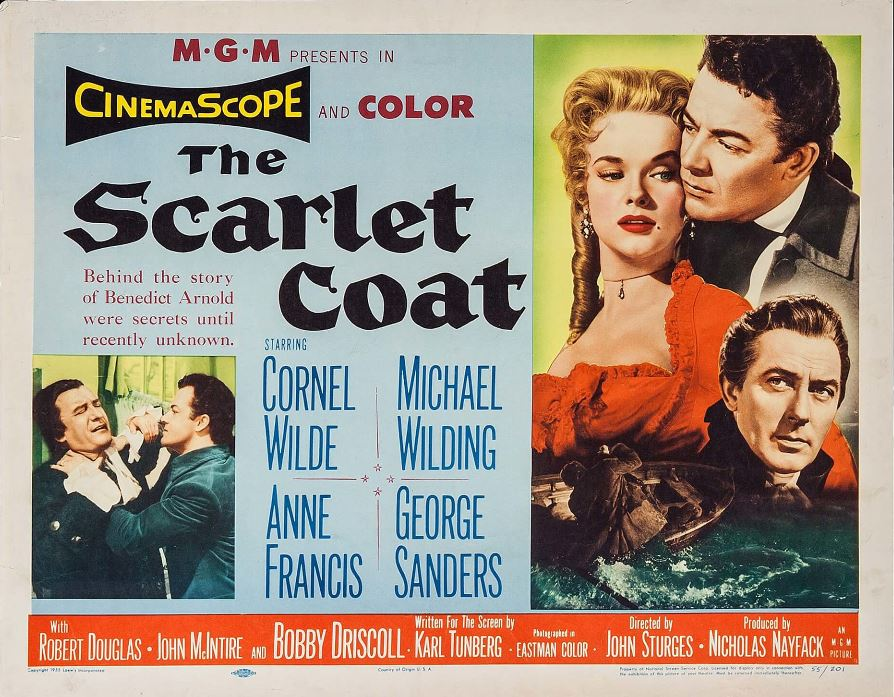 George Sanders, Anne Francis, Cornel Wilde, and Michael Wilding in The Scarlet Coat (1955)