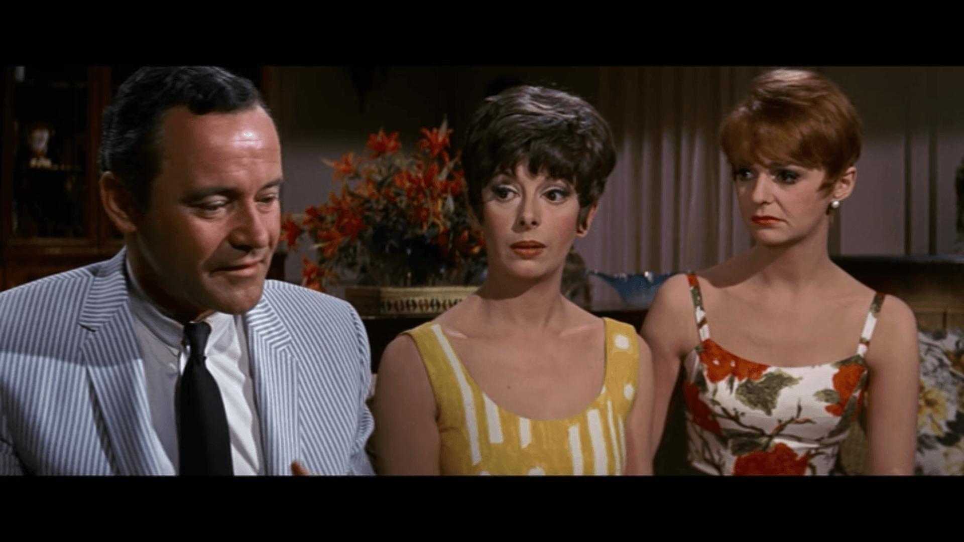 Jack Lemmon, Monica Evans, and Carole Shelley in The Odd Couple (1968)