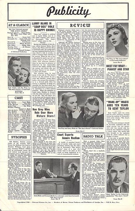 Granville Bates, Larry J. Blake, Nan Grey, Kent Taylor, and Fay Wray in The Jury's Secret (1938)