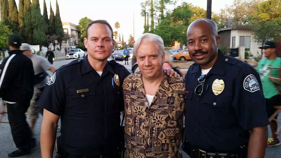 Left to Right: Sky Soleil, Paul Giamatti and Inny Clemons on the set of Straight Outta Compton.