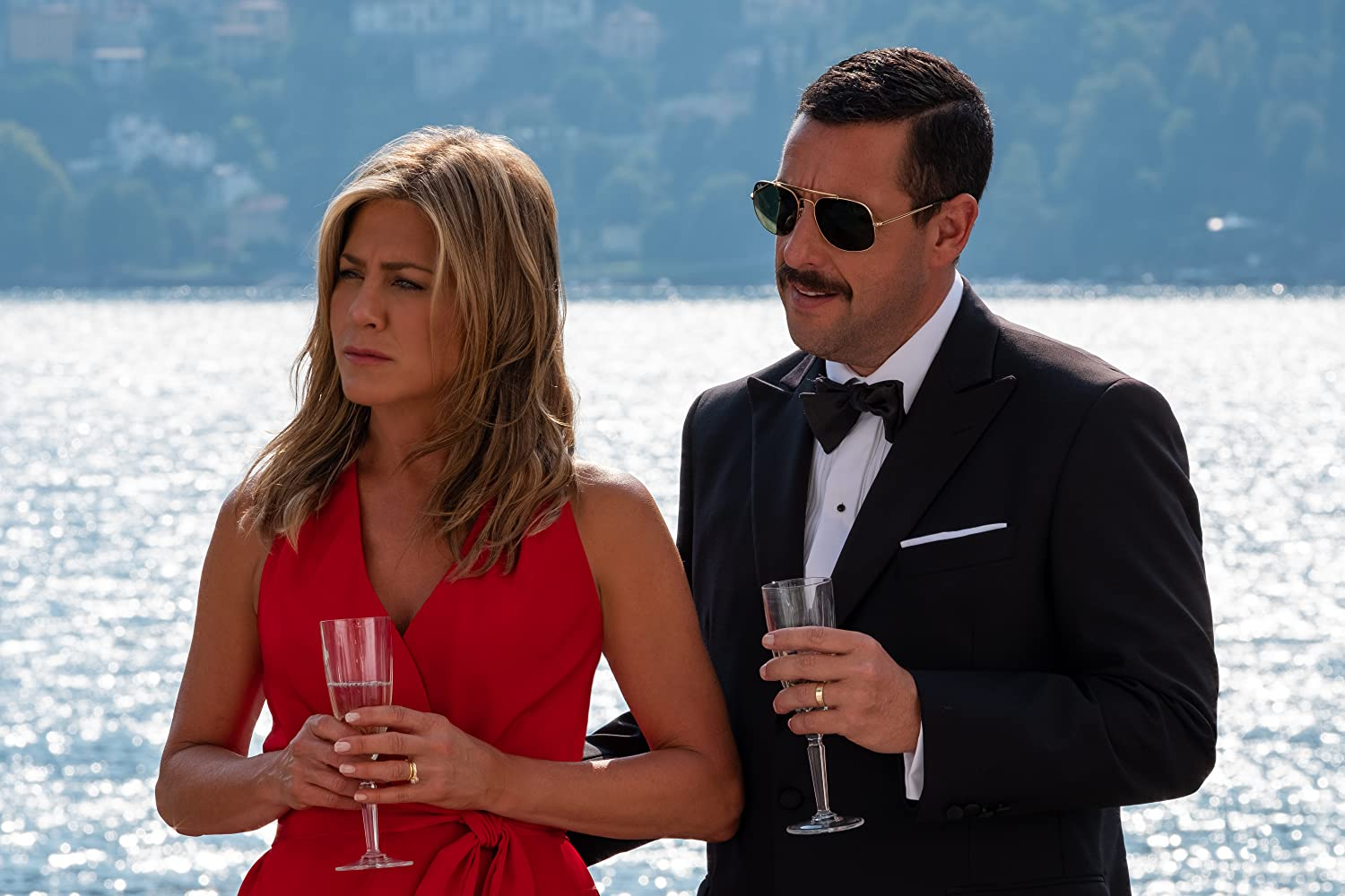Jennifer Aniston and Adam Sandler in Murder Mystery (2019)