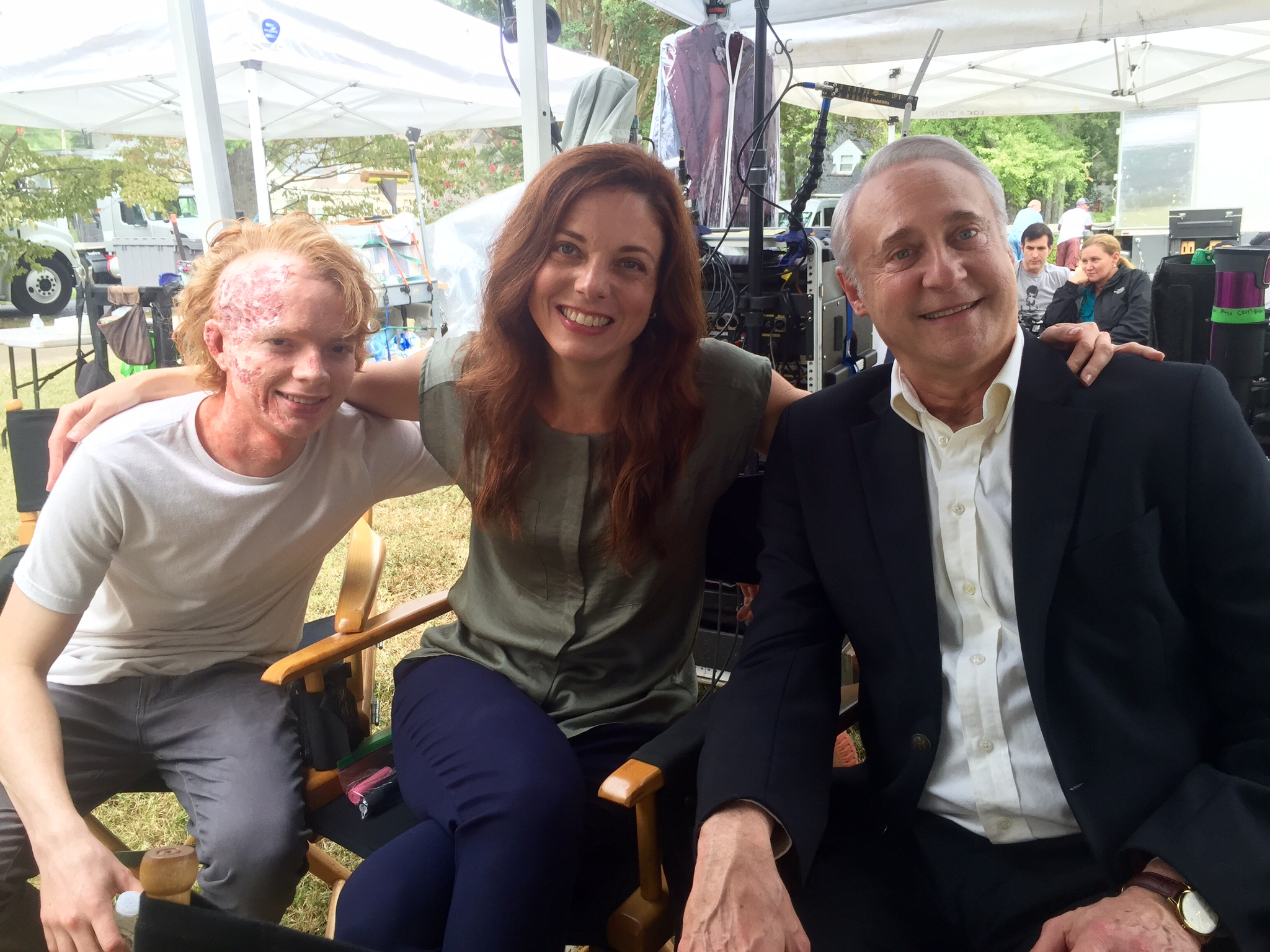 C.j. Hoff on set of Outcast with Brent Spiner, Claire Bronson