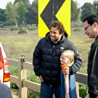 Harley and director Brett Ratner on the set of Cop House.