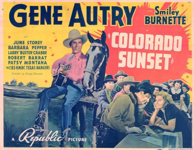 Gene Autry, Smiley Burnette, Frankie Marvin, Patsy Montana, Barbara Pepper, and Champion in Colorado Sunset (1939)
