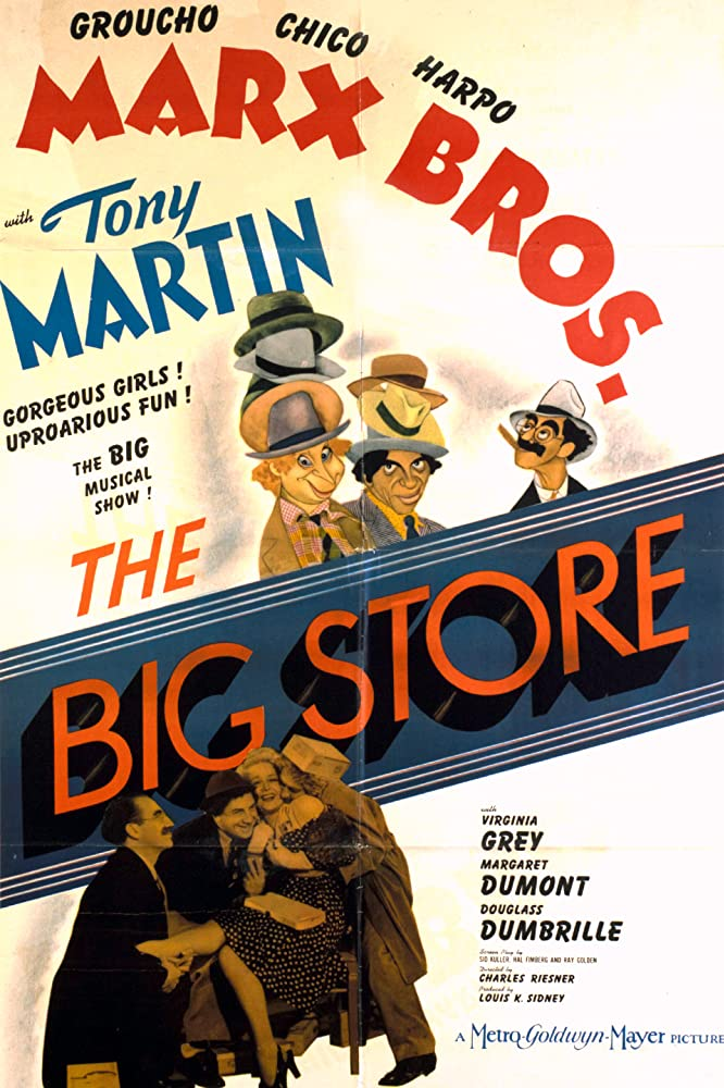 Groucho Marx, Douglass Dumbrille, Margaret Dumont, Virginia Grey, Tony Martin, Chico Marx, and Harpo Marx in The Big Store (1941)