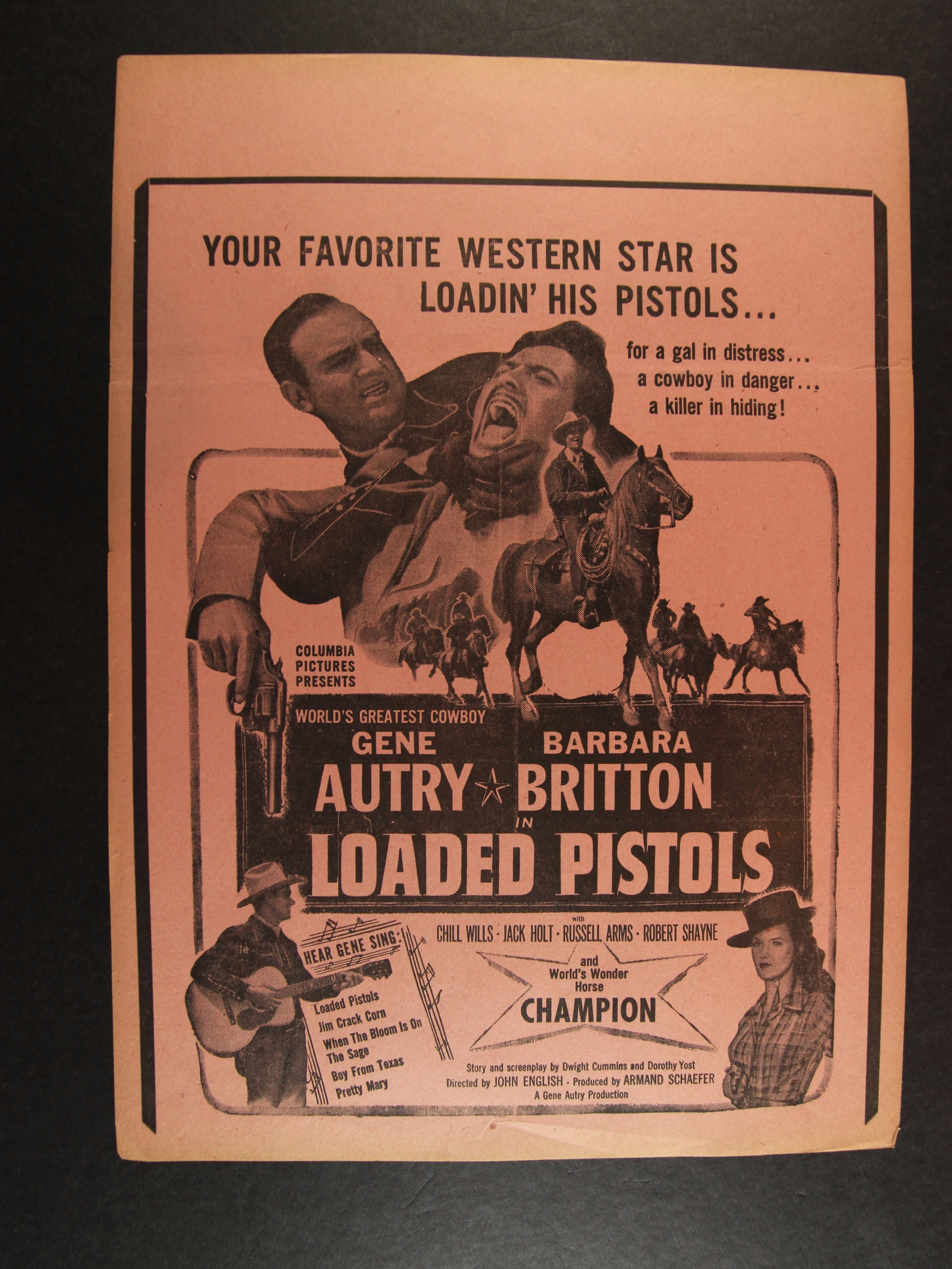 Gene Autry, Barbara Britton, Robert Shayne, and Champion in Loaded Pistols (1948)