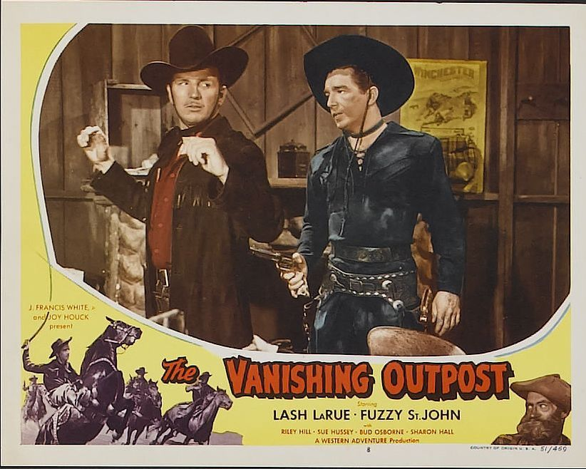 Lash La Rue and Clarke Stevens in The Vanishing Outpost 1951