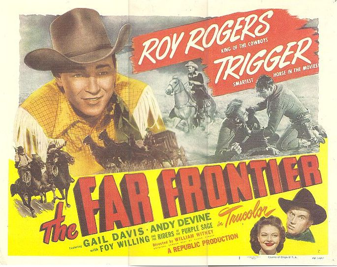 Roy Rogers, Gail Davis, Andy Devine, and Trigger in The Far Frontier (1948)