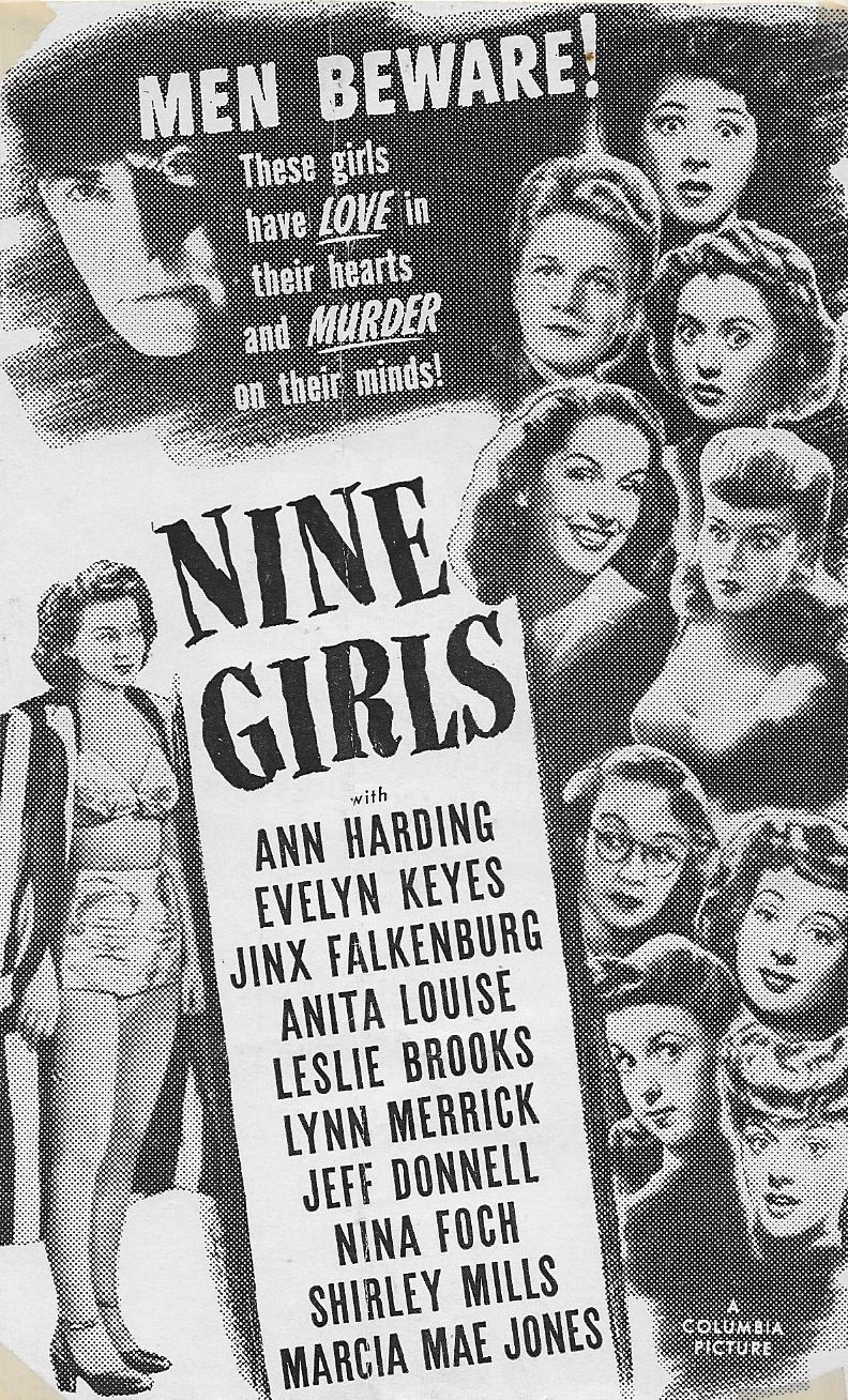 Nina Foch, Leslie Brooks, Jeff Donnell, Jinx Falkenburg, Marcia Mae Jones, Evelyn Keyes, Anita Louise, Lynn Merrick, and Shirley Mills in Nine Girls (1944)