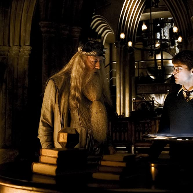 Michael Gambon and Daniel Radcliffe in Harry Potter and the Half-Blood Prince (2009)