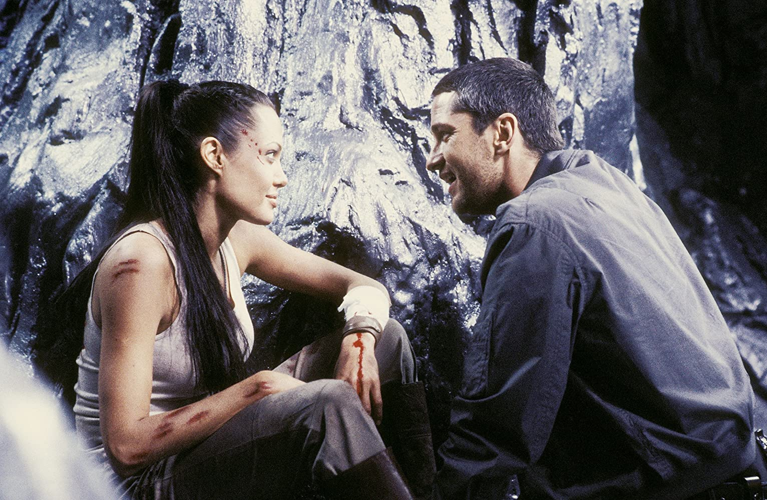 Angelina Jolie and Gerard Butler in Lara Croft Tomb Raider: The Cradle of Life (2003)