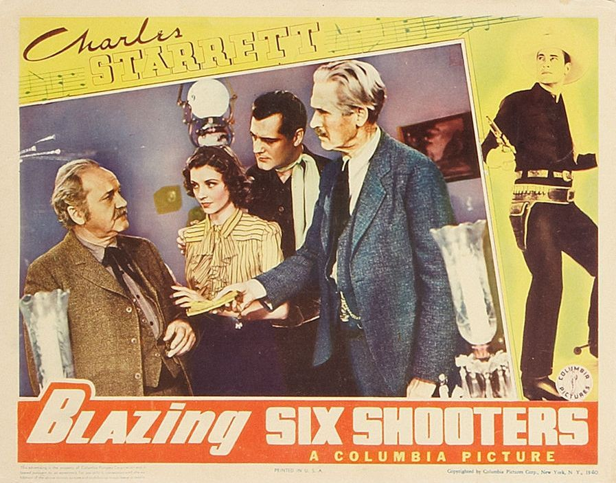 George Cleveland, Henry Hall, Iris Meredith, and Charles Starrett in Blazing Six Shooters (1940)