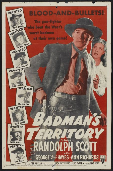 Randolph Scott, Steve Brodie, Isabel Jewell, William Moss, Nestor Paiva, Ann Richards, Lawrence Tierney, Tom Tyler, and Phil Warren in Badman's Territory (1946)