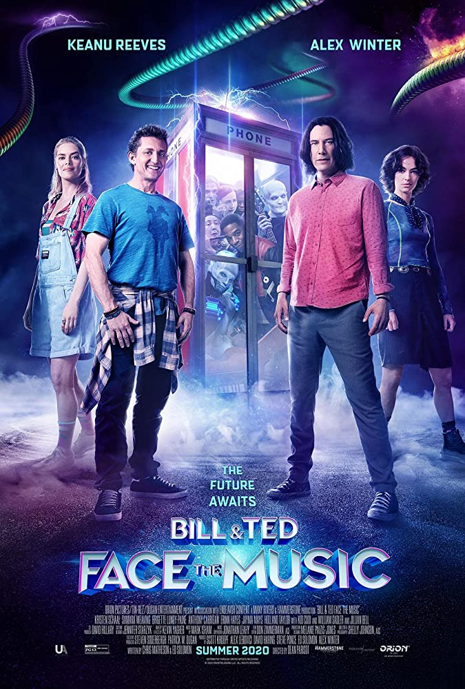 Keanu Reeves, Alex Winter, Samara Weaving, and Brigette Lundy-Paine in Bill & Ted Face the Music (2020)