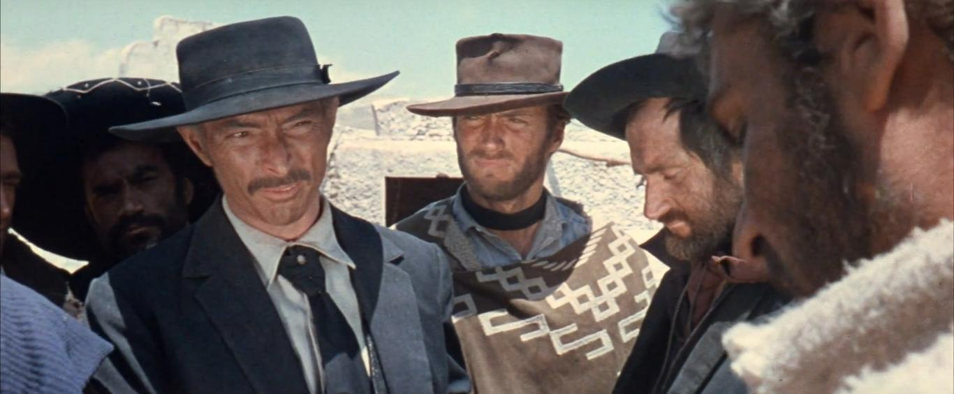 Clint Eastwood, Lee Van Cleef, Gian Maria Volontè, Werner Abrolat, and Aldo Sambrell in Per qualche dollaro in più (1965)