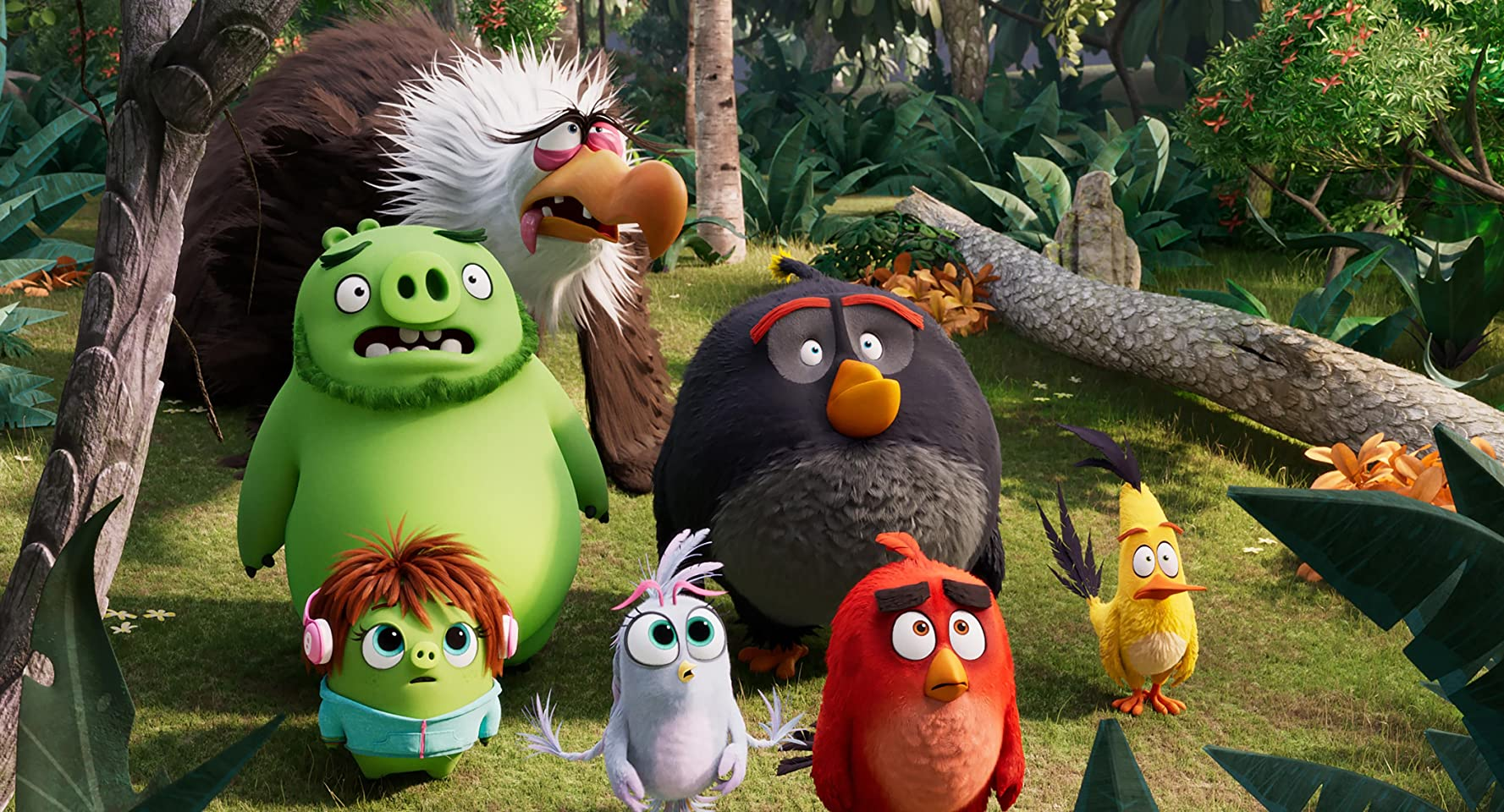 Peter Dinklage, Bill Hader, Jason Sudeikis, Danny McBride, Josh Gad, Rachel Bloom, and Awkwafina in The Angry Birds Movie 2 (2019)