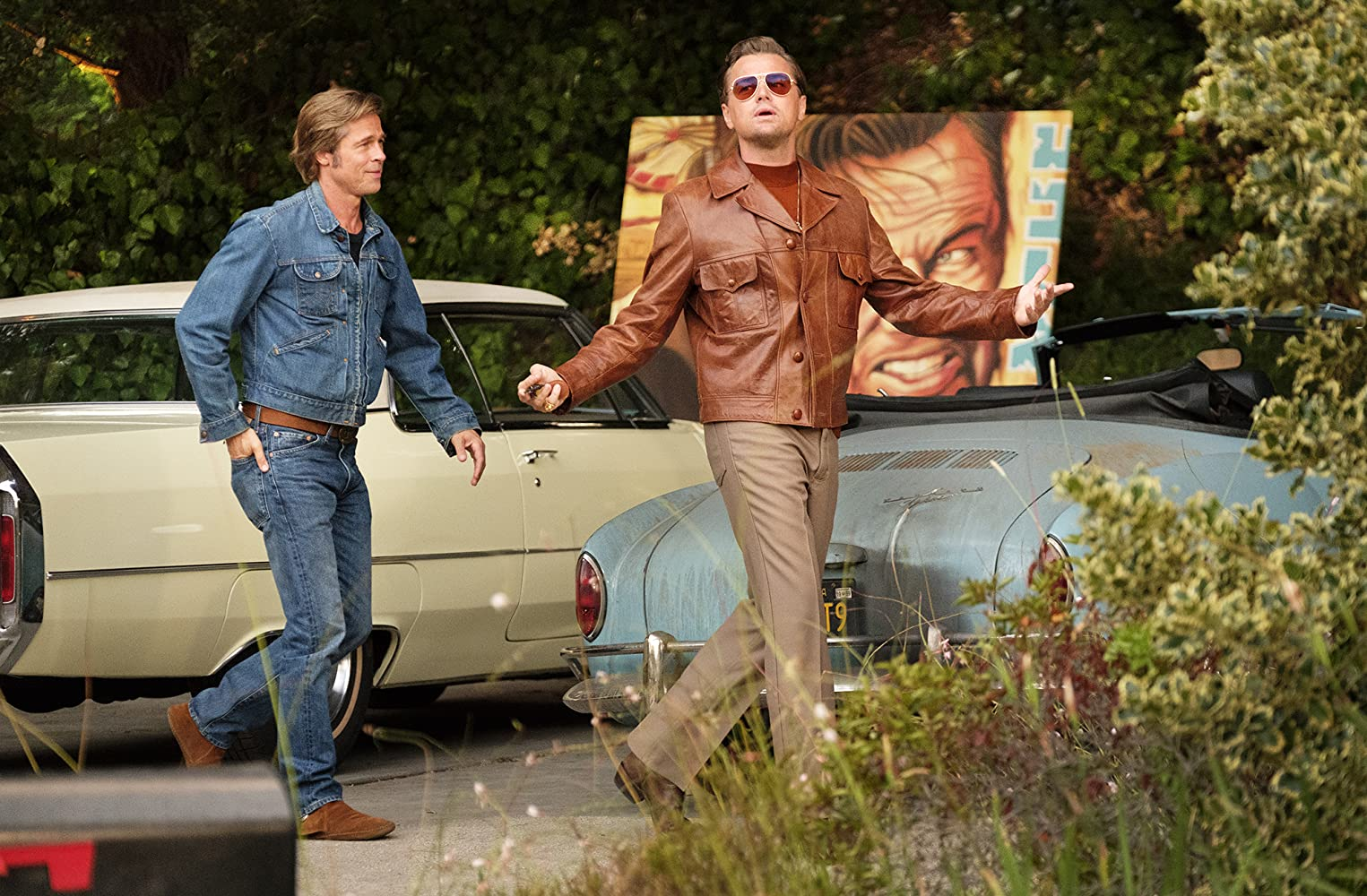 Brad Pitt and Leonardo DiCaprio in Once Upon a Time... in Hollywood (2019)