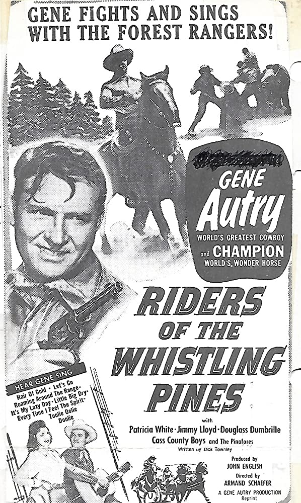 Gene Autry, Patricia Barry, and Champion in Riders of the Whistling Pines (1949)