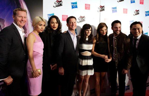 Jon M. Chu, Ryan Landels, Brian Goldner, Stefanie Scott, Aubrey Peeples, Hayley Kiyoko, and Aurora Perrineau in Jem and the Holograms (2015)