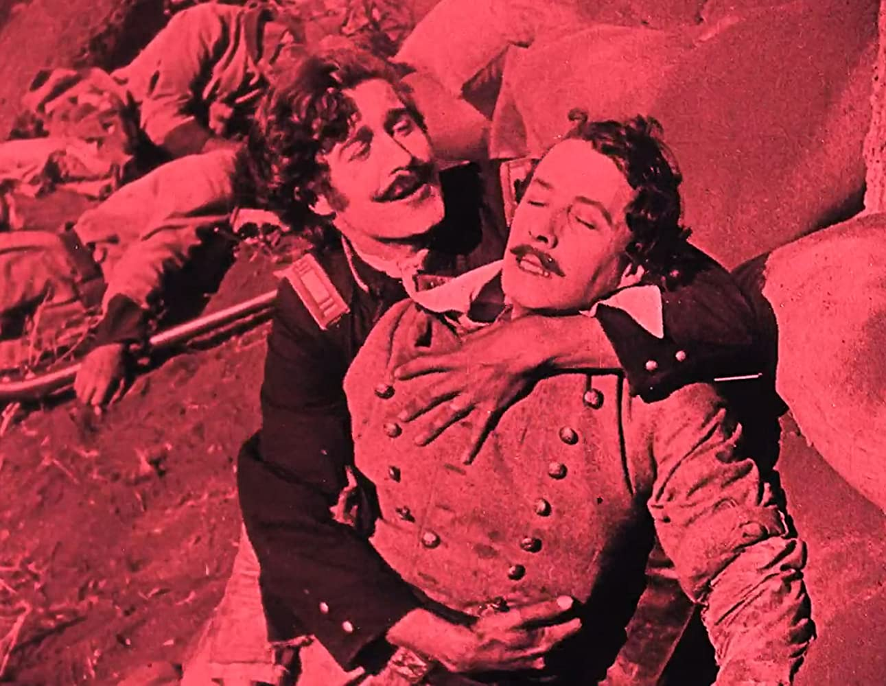 Elmer Clifton and Henry B. Walthall in The Birth of a Nation (1915)