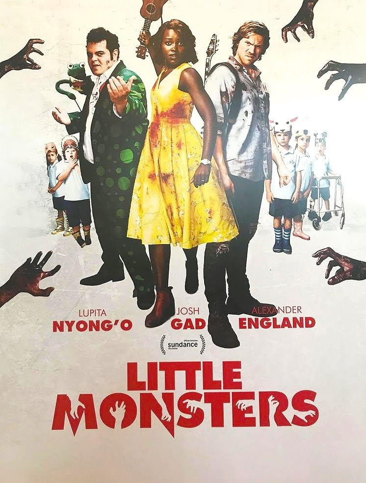 Josh Gad, Alexander England, Lupita Nyong'o, and Charlie Whitley in Little Monsters (2019)