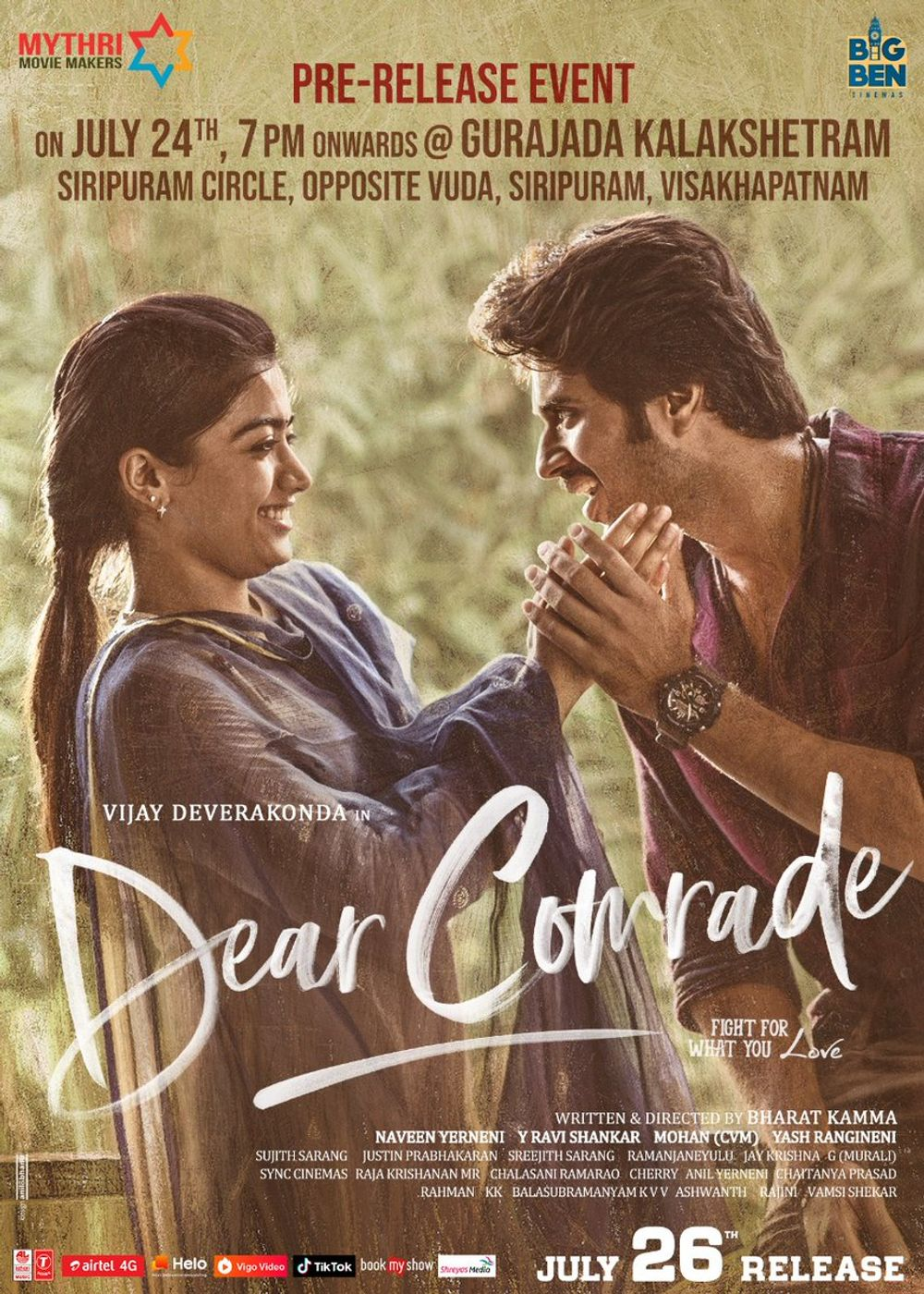 Dear Comrade 2021 Bangla Dubbed Movie 720p UNCUT HDRip ESub 1.7GB | 350MB Download