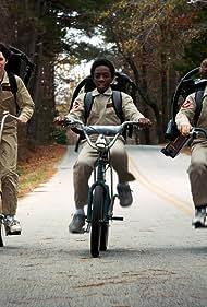 Caleb McLaughlin, Finn Wolfhard, and Gaten Matarazzo in Stranger Things (2016)