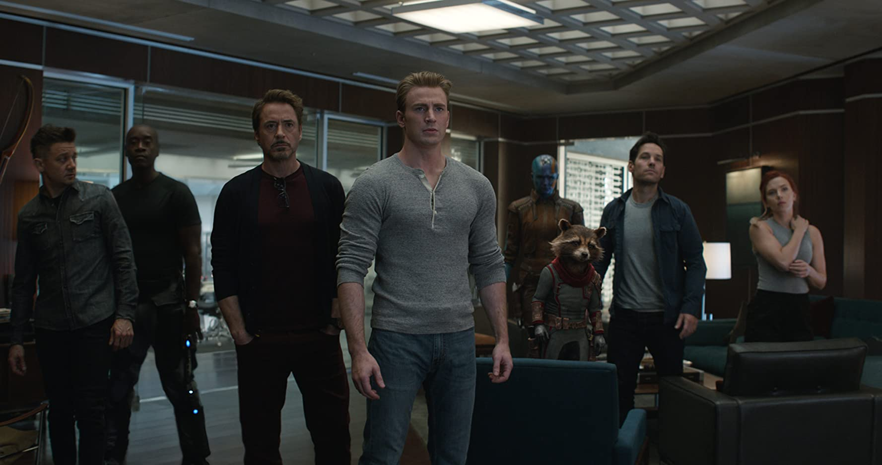 Don Cheadle, Robert Downey Jr., Bradley Cooper, Chris Evans, Scarlett Johansson, Jeremy Renner, Paul Rudd, and Karen Gillan in Avengers: Endgame (2019)