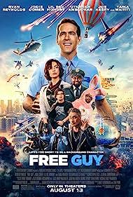 Ryan Reynolds, Taika Waititi, Hugh Jackman, Utkarsh Ambudkar, Lil Rel Howery, Jodie Comer, and Joe Keery in Free Guy (2021)