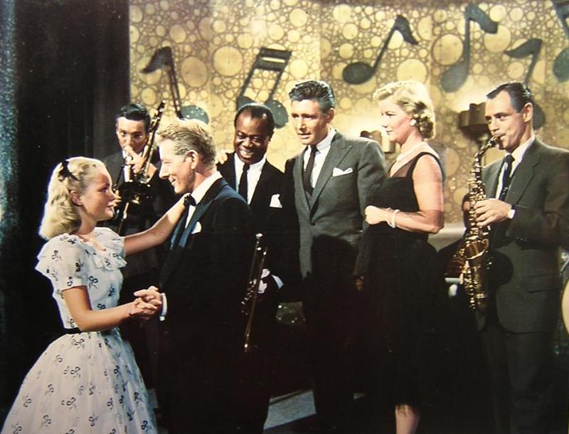 Barbara Bel Geddes, Danny Kaye, Tuesday Weld, Louis Armstrong, Ray Anthony, Bob Crosby, and Bobby Troup in The Five Pennies (1959)
