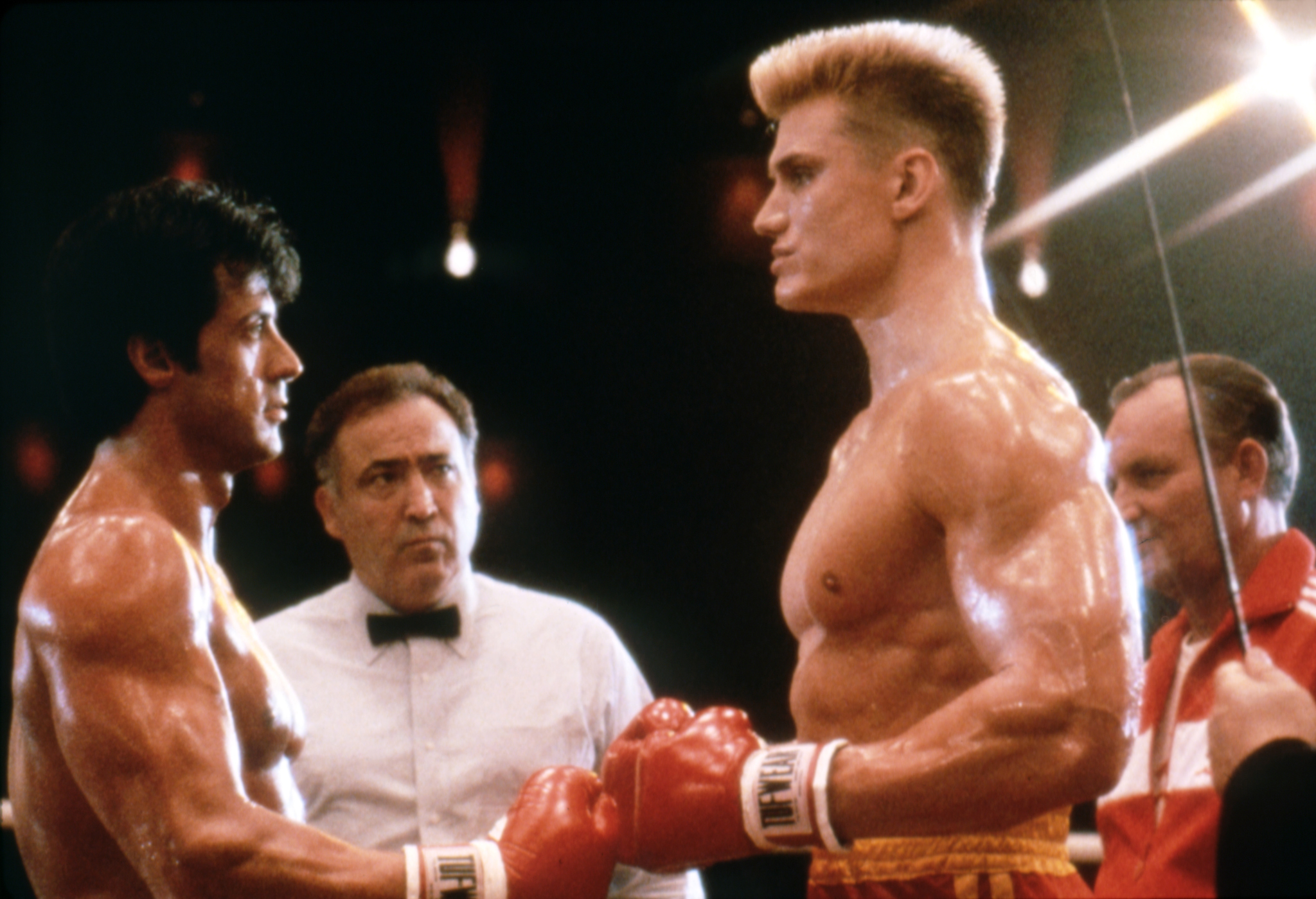 Dolph Lundgren, Sylvester Stallone, Marty Denkin, and George Rogan in Rocky IV (1985)