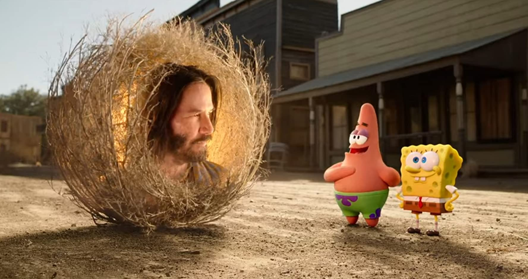 Keanu Reeves, Bill Fagerbakke, and Tom Kenny in The SpongeBob Movie: Sponge on the Run (2020)