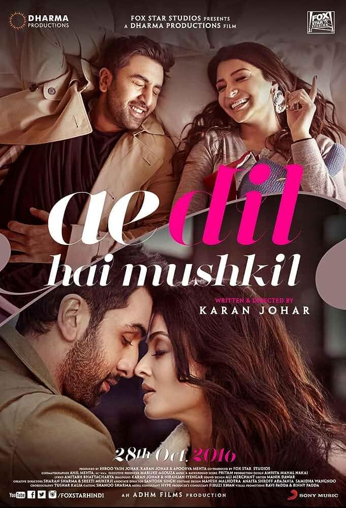 Download Ae Dil Hai Mushkil (2016) Hindi Full Movie 720p [1.2GB] | 1080p