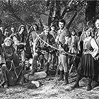 John Abbott, Edgar Buchanan, Lane Chandler, Leslie Denison, Anita Louise, Cornel Wilde, and Ray Teal in The Bandit of Sherwood Forest (1946)