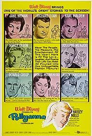 Karl Malden, Hayley Mills, Agnes Moorehead, Kevin Corcoran, Donald Crisp, Richard Egan, Adolphe Menjou, Nancy Olson, and Jane Wyman in Pollyanna (1960)