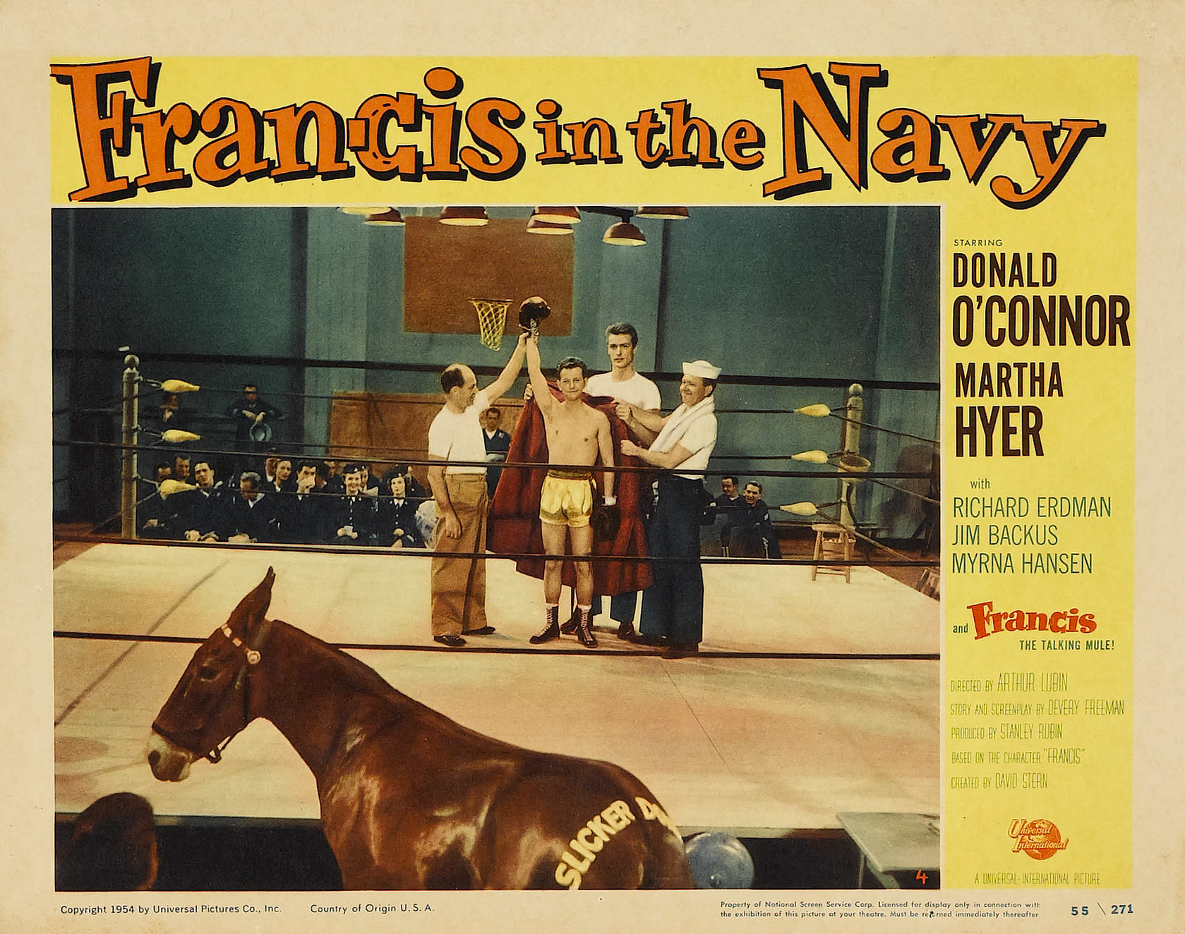Clint Eastwood, Richard Erdman, Donald O'Connor, Frankie Van, and Molly in Francis in the Navy (1955)